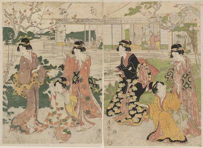 Torii Kiyomine: Women Dancing in a Plum Garden - Museum of Fine Arts