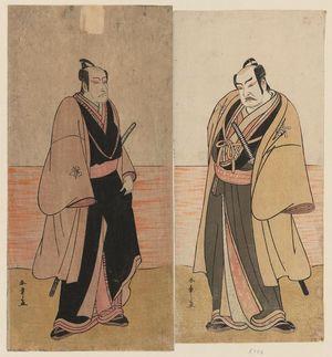 勝川春章: Actors Nakamura Sukegorô II as Kaminari Shôkurô (R) and Ichikawa Danjûrô V as Gokuin Sen'emon (L) - ボストン美術館