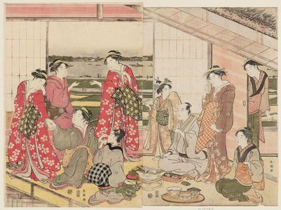 勝川春潮: Party in a Second-floor Room in the Yoshiwara - ボストン美術館