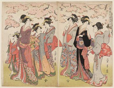 鳥高斎栄昌: Hanaôgi of the Ôgiya on an Outing (Ôgiya Hanaôgi yosoyuki) - ボストン美術館