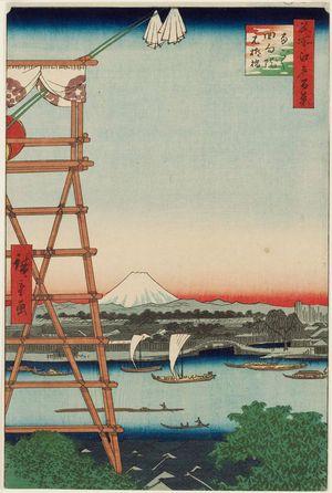 Utagawa Hiroshige: Ryôgoku Ekôin and Moto-Yanagibashi Bridge (Ryôgoku Ekôin Moto-Yanagibashi), from the series One Hundred Famous Views of Edo (Meisho Edo hyakkei) - Museum of Fine Arts