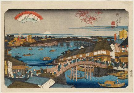 渓斉英泉: Sunset Glow at Ryôgoku Bridge (Ryôgoku-bashi no sekishô), from the series Eight Views of Edo (Edo hakkei) - ボストン美術館