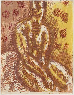 Onchi Koshiro: Seated female nude - Museum of Fine Arts
