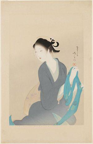 Kaburagi Kiyokata: Woman Holding a Blue Sash - Museum of Fine Arts