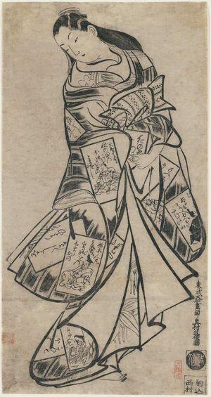 奥村政信: Courtesan in Kimono Decorated with Poetry Cards - ボストン美術館
