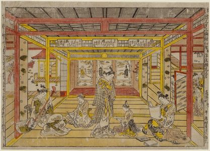 奥村政信: Perspective Picture of a Triptych of the Three Evening Poems, by the Authentic Originator of Color Printing and Perspective Prints (Uki-e sanseki sanpukutsui, benizuri-e narabi ni uki-e kongen shômei) - ボストン美術館