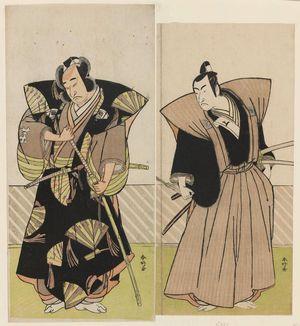勝川春好: Actors Onoe Matsusuke I and Ichikawa Monnosuke II - ボストン美術館