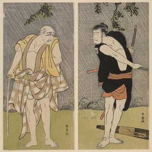 Katsukawa Shun'ei: Actors Ichikawa Komazô II as Ono Sadakurô (R) and Ichikawa Danjûrô V (L) - Museum of Fine Arts