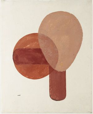 Onchi Koshiro: Composition in Red and Brown - Museum of Fine Arts