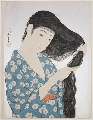 Hashiguchi Goyo: Woman in Blue Combing Her Hair - Museum of Fine Arts