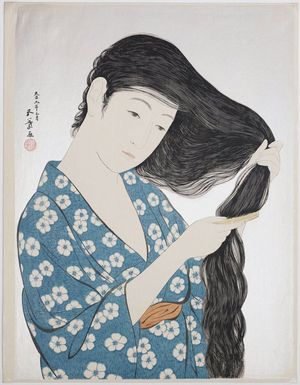 橋口五葉: Woman in Blue Combing her Hair - ボストン美術館