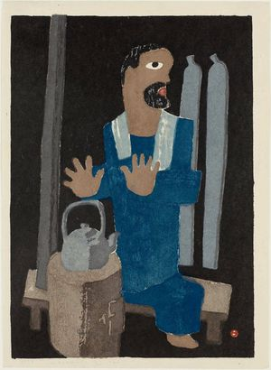 Azechi Umetaro: Man Warming Hands by Stove (Sutôbu no mae) - ボストン美術館