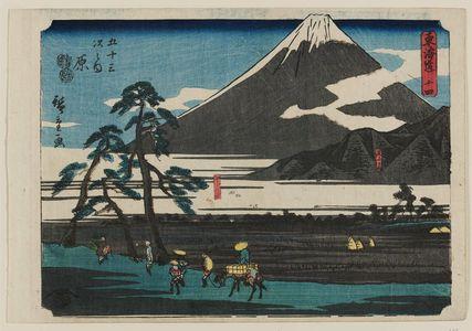 Utagawa Hiroshige: No. 14 - Hara: Ashitaka Mountains and Fuji Marsh (Ashitakayama, Fujinuma), from the series The Tôkaidô Road - The Fifty-three Stations (Tôkaidô - Gojûsan tsugi no uchi) - Museum of Fine Arts
