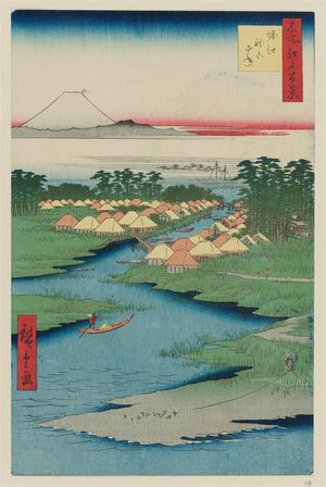 歌川広重: Horie and Nekozane (Horie Nekozane), from the series One Hundred Famous Views of Edo (Meisho Edo hyakkei) - ボストン美術館