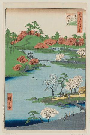 歌川広重: Open Garden at Fukagawa Hachiman Shrine (Fukagawa Hachiman yamabiraki), from the series One Hundred Famous Views of Edo (Meisho Edo hyakkei) - ボストン美術館