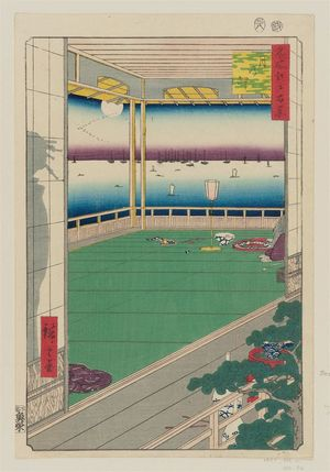 歌川広重: Moon-Viewing Point (Tsuki no misaki), from the series One Hundred Famous Views of Edo (Meisho Edo hyakkei) - ボストン美術館