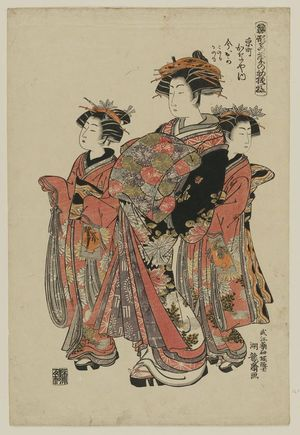 磯田湖龍齋: Imaoka of the Kanaya in Kyô-machi, kamuro Konomo and Kanomo, from the series Models for Fashion: New Year Designs as Fresh as Young Leaves (Hinagata wakana no hatsu moyô) - ボストン美術館
