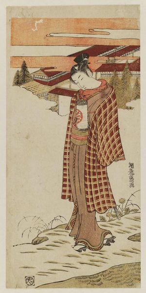 磯田湖龍齋: Young Man Carrying a Lantern - ボストン美術館