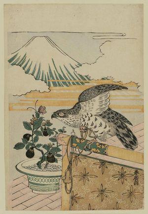 磯田湖龍齋: Dream Symbols of the New Year: Hawk, Eggplant and Mount Fuji - ボストン美術館