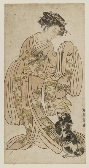 Isoda Koryusai: Young Woman Playing with Dog - Museum of Fine Arts