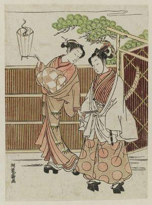磯田湖龍齋: Parody of Ushiwakamaru (Yoshitsune) Being Taken to Meet Jôruri-hime - ボストン美術館