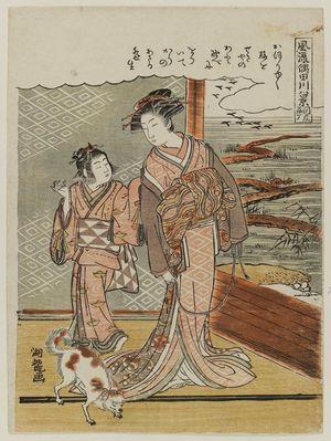 磯田湖龍齋: Descending Geese at Sekiya (Sekiya rakugan), from the series Fashionable Eight Views of the Sumida River (Fûryû Sumidagawa hakkei) - ボストン美術館