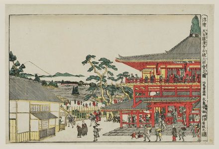 Kitao Shigemasa: Perspective Picture of the Spiral Hall at the Temple of the Five Hundred Arhats (Uki-e Gohyaku rakan-ji Sazaidô no zu) - Museum of Fine Arts