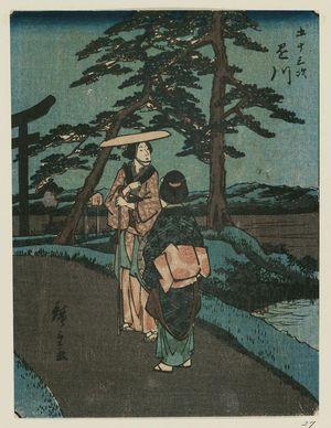 Utagawa Hiroshige: Kakegawa, from the series Fifty-three Stations [of the Tôkaidô Road] (Gojûsan tsugi), also known as the Jinbutsu Tôkaidô - Museum of Fine Arts