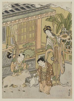 Kitao Shigemasa: Chinese Boys with a Goat - Museum of Fine Arts