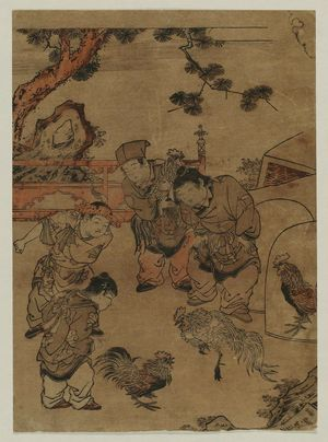 Kitao Shigemasa: Chinese Boys Watching a Cock Fight - Museum of Fine Arts