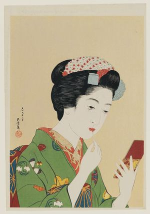 Hashiguchi Goyo: Woman Appplying Color to Her Lips (Portrait of Chiyo, a Maiko of Gion, Kyoto) - Museum of Fine Arts