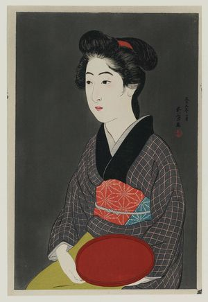 Hashiguchi Goyo: Waitress with a Red Tray (Portrait of Onao, a Maid at the Matsuyoshi Inn, Kyoto) - Museum of Fine Arts
