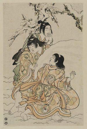 Kitao Shigemasa: Three boys rolling a snowball - Museum of Fine Arts