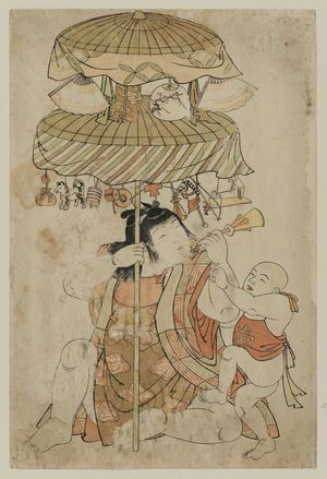 Kitao Shigemasa: Two children with decorated umbrellas with toys and fans on a pole - Museum of Fine Arts
