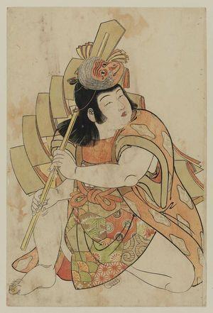 北尾重政: Child with monkey mask and decorated stick. - ボストン美術館
