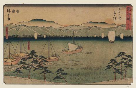 歌川広重: No. 53 - Kusatsu: Yabase Crossing and View of Lake Biwa (Kusatsu, Yabase no watashiguchi, Biwa-ko fûkei), from the series The Tôkaidô Road - The Fifty-three Stations (Tôkaidô - Gojûsan tsugi), also known as the Reisho Tôkaidô - ボストン美術館