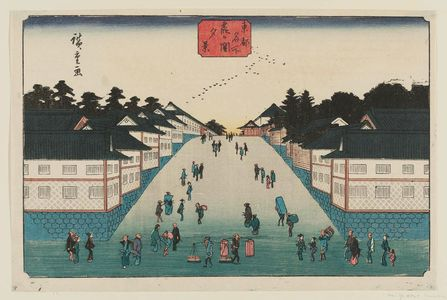Utagawa Hiroshige: Evening View of Kasumigaseki (Kasumigaseki yûkei), from the series Famous Places in the Eastern Capital (Tôto meisho) - Museum of Fine Arts