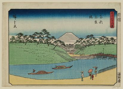 Utagawa Hiroshige: Suidô-bashi Bridge in Edo (Tôto Suidôbashi), from the series Thirty-six Views of Mount Fuji (Fuji sanjûrokkei) - Museum of Fine Arts