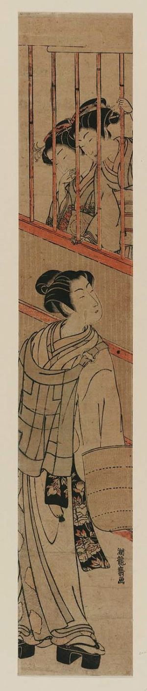 Isoda Koryusai: Two Girls Looking out a Window at a Young Man Dressed as a Komusô - Museum of Fine Arts