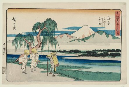 歌川広重: Kanbara: View of the Fuji River from Iwafuchi (Kanbara, Iwafuchi yori Fujikawa o miru zu), from the series The Fifty-three Stations of the Tôkaidô Road (Tôkaidô gojûsan tsugi no uchi), also known as the Gyôsho Tôkaidô - ボストン美術館