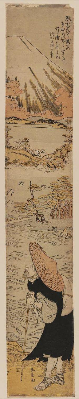 Katsukawa Shunsho: Priest Saigyô Viewing Mount Fuji - Museum of Fine Arts