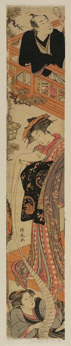 鳥居清長: Parody of the Letter-reading Scene in Act VII of Chûshingura - ボストン美術館