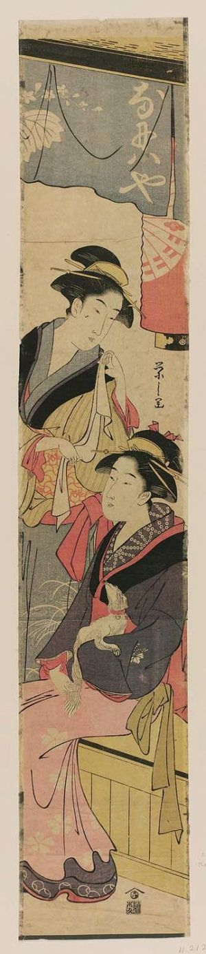 Hosoda Eishi: Okita and Another Waitress at the Naniwaya Teahouse - Museum of Fine Arts