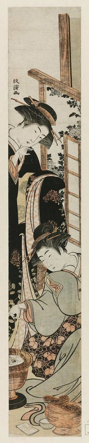 Kitao Masanobu: Two women: one standing looking down, one sitting by a hibachi - ボストン美術館