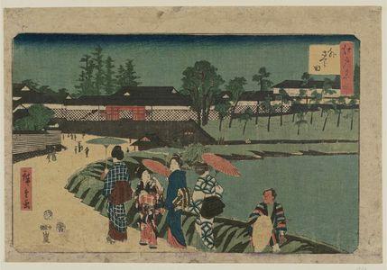 Utagawa Hiroshige: Outside Sakurada (Soto Sakurada), from the series Famous Places in Edo (Edo meisho) - Museum of Fine Arts