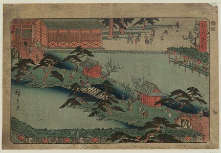 歌川広重: Kameido Tenmangû Shrine (Kameido Tenmangû), from the series Famous Places in Edo (Edo meisho) - ボストン美術館