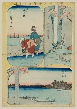 Utagawa Hiroshige: Oji, Taki-no-gawa (Waterfall), Shinagawa, Shiohigari (Gathering sea-food), Suijin no mori, Masaki no Yashiro, from the series Cutout Pictures of Famous Places in Edo (Edo meisho harimaze zue) - Museum of Fine Arts