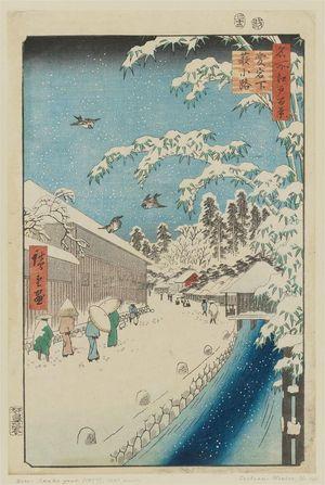 Utagawa Hiroshige: Atagoshita and Yabu Lane (Atagoshita Yabukôji), from the series One Hundred Famous Views of Edo (Meisho Edo hyakkei) - Museum of Fine Arts