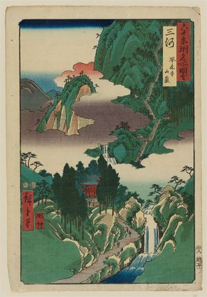 Utagawa Hiroshige: Mikawa Province: Hôrai Temple Mountains (Mikawa, Hôraiji sangan), from the series Famous Places in the Sixty-odd Provinces [of Japan] ([Dai Nihon] Rokujûyoshû meisho zue) - Museum of Fine Arts