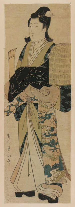 菊川英山: Young Man Dressed as Komusô - ボストン美術館